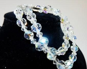 Swarovski Aurora Borealis Crystal Xilion cut Two Strand Bracelet with Rhinestone Box Clasp