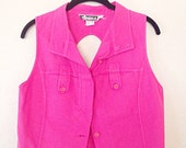 1980s vintage hot pink sleeveless blouse with large key-hole back small VTG 80s