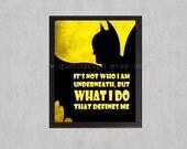 Batman - yellow version photo print - Superhero Poster Wall Art Texture Boy Room Geek Geekery Nerd Office Man Cave Gift Him Action Hero