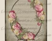 Digital Rose Vintage Paper, Shabby Pink Rose Floral Collage Paper, Vintage Floral Decoupage Paper, Vintage Scrapbook Supplies. No. 310