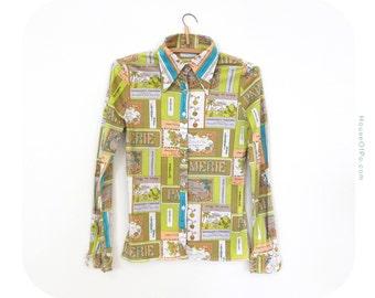 70s multicolor blouse, vintage 1970s blouse