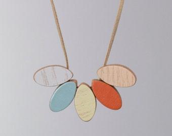 Handmade Wooden Necklace - Marigold style, short