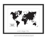 World Map - Inspiring Travel Typography Poster - Lao Tzu Quote
