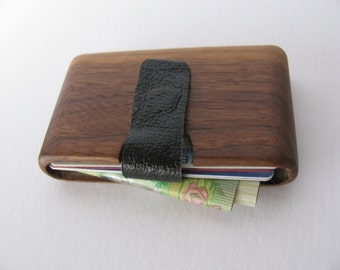 Wood wallet made from Black walnut wood. Business and credit card holder.