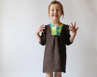 Girls dress Linen dress Toddler girls dress Girls clothes Spring brown dress