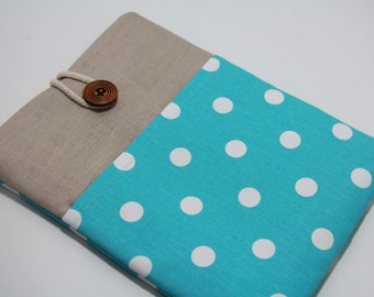 Turquoise iPad Pro 9.7 Case Ipad Air 2 Cover foam Padded Handmade iPad Pro Sleeve with Pocket- Polka Dots in Blue