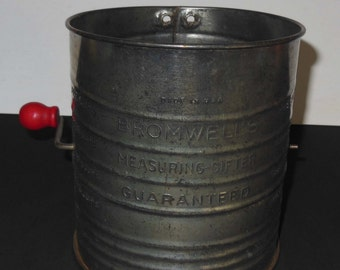 Vintage Bromwell's 5 Cup Tin Measuring-Sifter