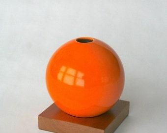 orange vase, ceramic and wood vase, Ceramic Vase, Flower Vase, Bud Vase, Pottery Vase, Modern, Mother's Days Gift, Wedding Gift, small vase