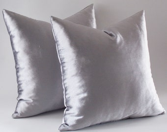 Set Of 2 / Silver Velvet Pillow Covers, Decorative Velvet Pillows, Throw Pillows,16,18,20,22,24,26 inch