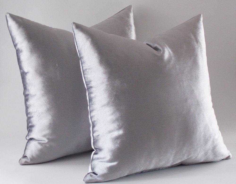 Velvet Decorative Pillow Covers : Set Of 2 / Silver Velvet Pillow Covers Decorative Velvet