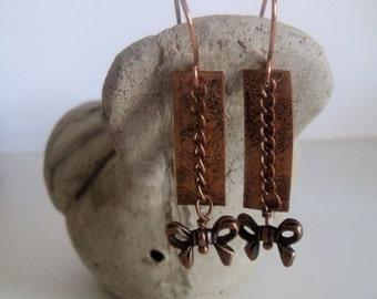Copper, copper chain, copper bow, dangle earrings