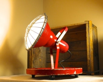 """Chase Shawmut Co. """"Roll-A-Lite"""" Red Antique Stage Light - Industrial Lighting Theater Light"""