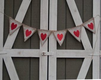 Burlap Valentine Banner, Heart Burlap Banner, Valentines Day Banner, Valentine Photo Prop B401