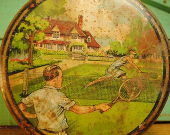 Antique TENNIS tin much loved, shabby chic DESIGN patina Kelly Polar Mints antique games golf lacrosse rugby football Home Decor storage