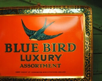 BLUE BIRD rare Tin 1930s Antique English Castles tin RARE great graphics toffee candy tin Made in England bedroom Home Decor storage unusual
