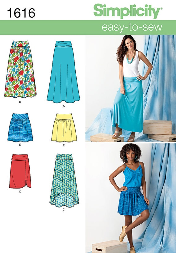 simplicity 1616 easy to sew maxi knee length skirt pattern in