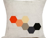 Pillow Cover French Style Burlap Cotton Throw Pillow Geometric Orange BH-14