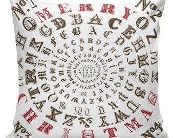 Christmas Pillow Winter Typography Letterpress Cotton and Burlap Pillow Cover CH-82 Elliott Heath Designs