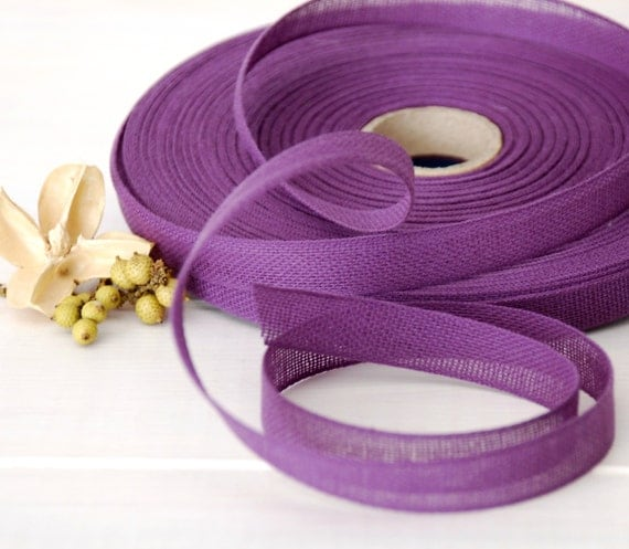 "Plum Cotton Ribbon - 3 or 6  Yards of 100% Cotton Ribbon - 1/2"" wide - Purple Ribbon -Buy More and Save - Plum Color Ribbon - Eco Friendly"