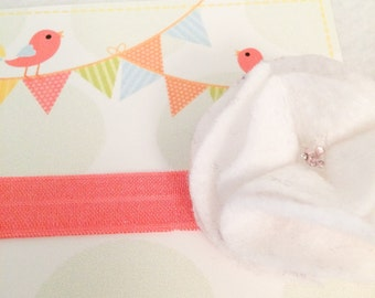 Ready To Ship - Large White/Coral Flower Headband (Style 2)