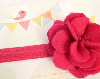 Ready To Ship - Large Pink/Pink Flower Headband (Style 1)