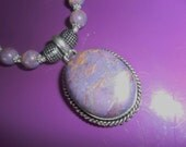 Free Shipping large Gemstone statement pendant hemimorphite amethyst beaded necklace in engraved silver setting