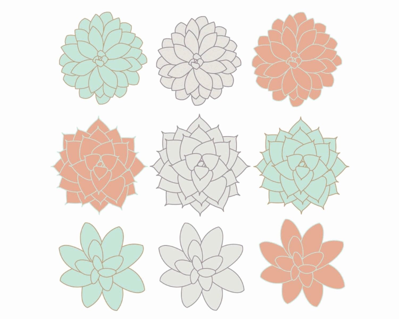60% OFF SALE Digital Clip Art Succulents by thepaperpegasus