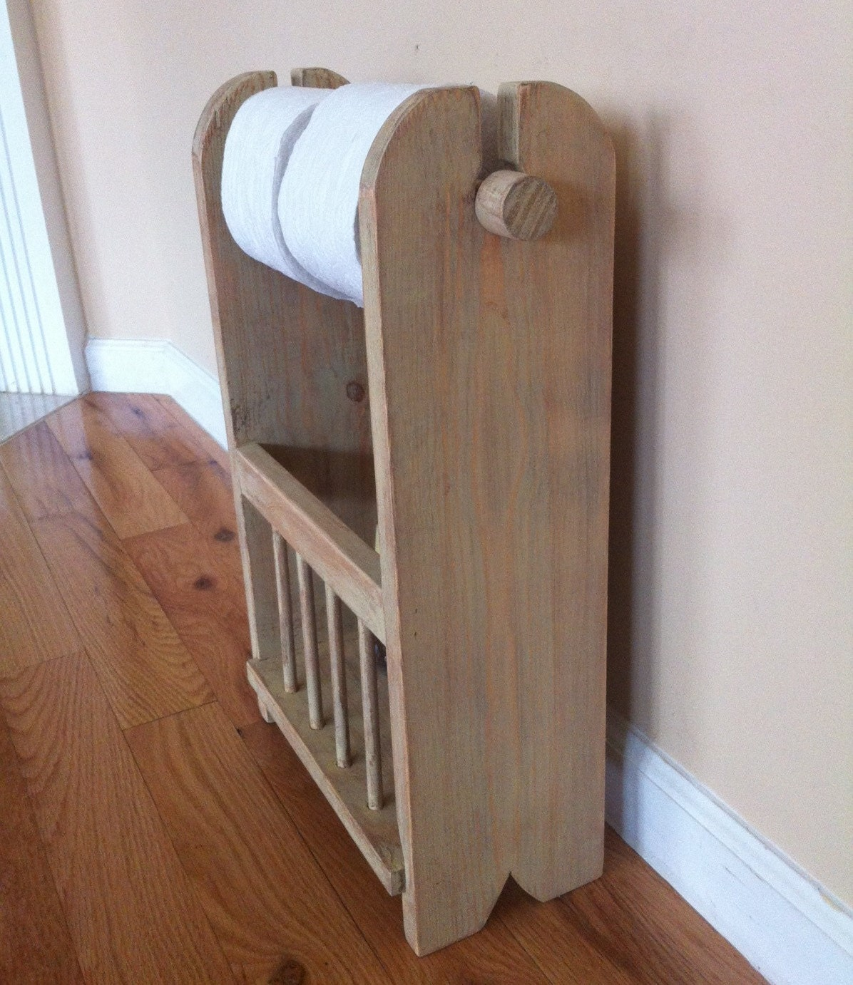 Distressed Wood Toilet Paper Holder With By Thewoodandink