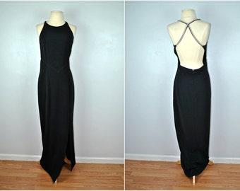 Formal Black Dress With Rhinestone Straps, Vintage Black Dress, Vintage Formal Black Dress