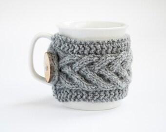 Cup Cozy in Grey, Knitted Mug Cozy, Coffee Cozy, Tea Cup Cozy, Handmade Wooden Button, Coffee Cozy Sleeve, Warmer, Winter, Gift