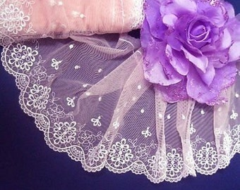 """DN528- 6 """" Pink Embroidered Tulle Mesh Lace Trim by Yard"""