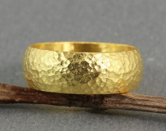 8mm Handmade Hammered 24K Yellow Gold Over 925K Sterling Silver Half Round Vermeil Handcrafted Wedding Band Ring - FREE Sizing & Engraving