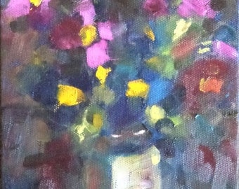Primulas- A small oil painting