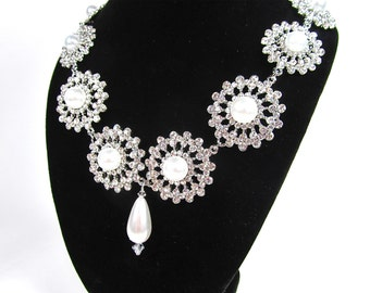 Vintage Inspired Rhinestone Pearl Bridal Statement Necklace, Wedding Necklace