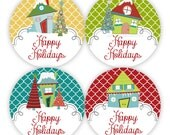 Holiday Stickers - Yellow, Red, Green, Turquoise Quatrefoil, Winter Houses Envelope Seal Stickers - 20 Round Christmas Envelope Seal Labels