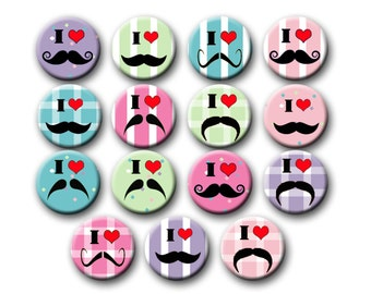 Mustache Theme Party Favors 1 inch Pinback Buttons Mustache Birthday Party