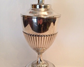 English silver plated table lamp with crystal shade. F20