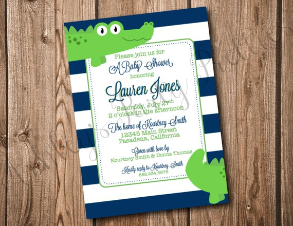 items similar to alligator baby shower invitation on etsy, Baby shower invitations