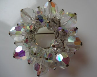 Vintage Aurora Borealis Crystal Beaded Brooch