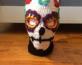 Crochet Sugar Skull Ski Mask