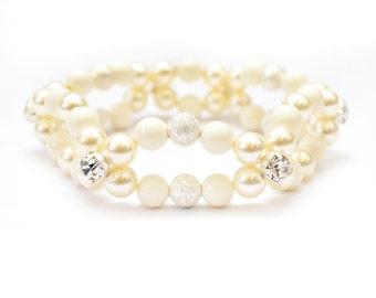 Ivory Silver and Cream Stretch Bracelet - Swarovski Pearls, Pearl Jewelry, Pearl Bracelet