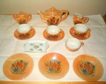 Child's Lusterware Tea Set 16 Pieces Lustreware Made In Occupied Japan WW11 Antique 1940s Vintage Play