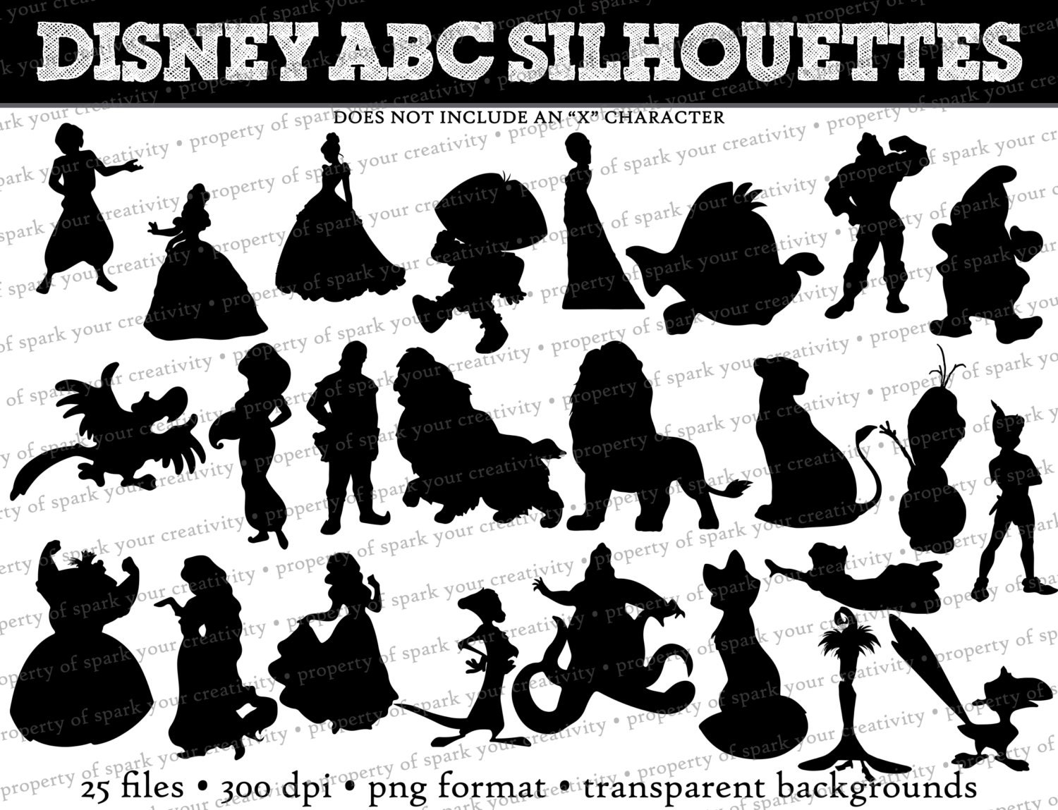 Disney Princess Silhouette Disney Abc Silhouettes