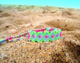 Friendship bracelet. Wayuu. Mexico bracelet. Bright Neon Handwoven Friendship Bracelet Aztec . Fuchsia / Lime