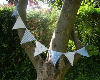 Blue & White Fabric Bunting
