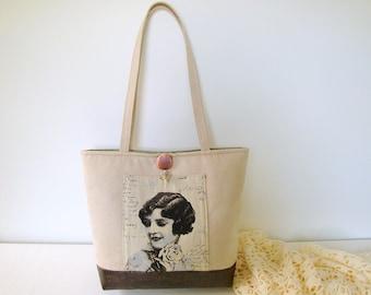 Handbag, Tote bag, Shoulderbag, faux suede, ecoleather, beige, ivory, brown, lady