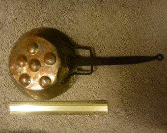 Charming mixed material 19th century handmade escargot pan