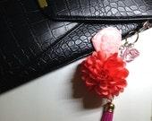 Pink Tassel Diamond Mirror Bag Charm, Handmade Jewelry by Dreambuzzer on Etsy
