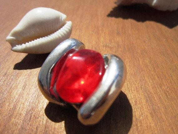 Red Resin slider bead, silver beads, bracelet sliders ...