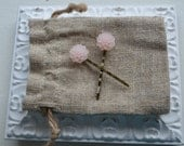 Toddler girl/ girls/ womens cabochon hair clip/ barrette/ bobby pins- Pale peach/ ivory Cabochon flowers- one pair